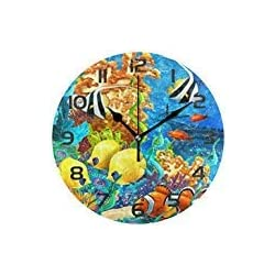 Dozili Ocean Theme Sea Animal Fish Decorative Wooden Round Wall Clock Arabic Numerals Design Non Ticking Wall Clock Large for Bedrooms, Living Room, Bathroom