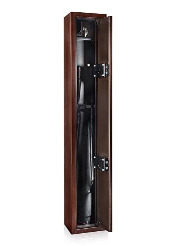 AdirOffice Dual Lock Steel Rifle Safe Cabinet - Heavy Duty Mahogany Finish w/Dual Lock Security Storage Perfect Case/Cabinet for Long Rifle, Shotgun, Long Guns & Rifles (1.33 Cu Ft - -