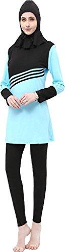 Ababalaya Womens Modest Muslim Islamic 3-Piece Print Full Cover Hijab Burkini Swimsuit,Sky Blue,Tag Size 3XL= US Size 8-10 by Ababalaya