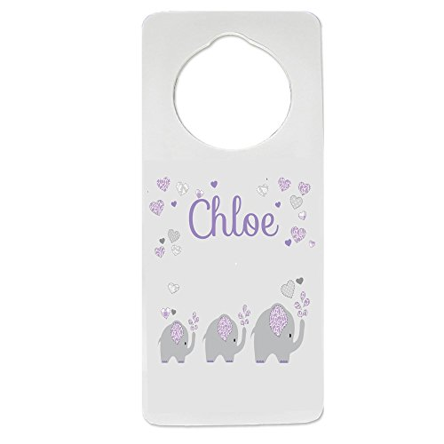 Personalized Lavender Elephant Nursery Door Hanger by MyBambino
