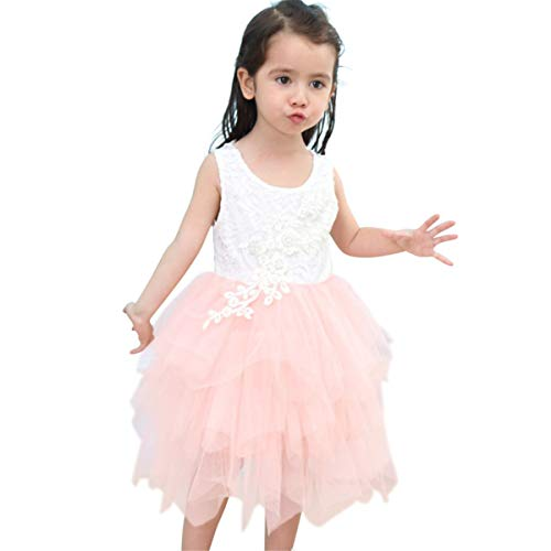 Titanos Kids Lace Back Flower Girl Dress (Pink, 4-5Years) -