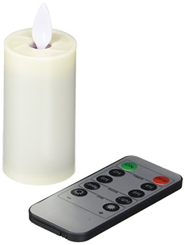 Pandaing 1.5x3.8 Set of 6 Outdoor and Indoor Classic Pillar Dancing LED Flameless Candles with Timer & 10-Key Remote Control, Batteries Included, Ivory Color