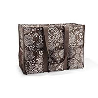 Thirty One Super Organizing Tote Brown Woodblock Floral 3893 (Thirty One Easy Breezy Tote Island Damask)