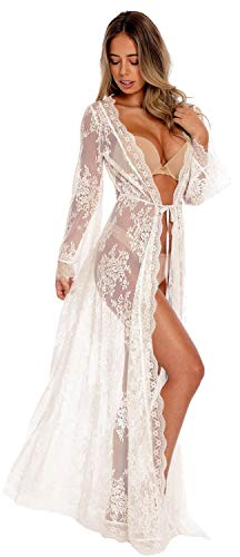 VenuStar Womens Kimono lace Cardigan Open Front Tunics Beach Coverup Long Sleeves (One Size, DM-White)