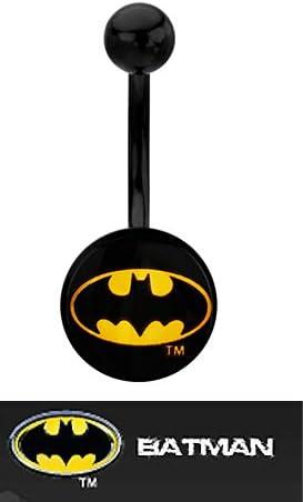 Licensed DC Comics 316L Batman Black Logo Navel Ring with Gift Box