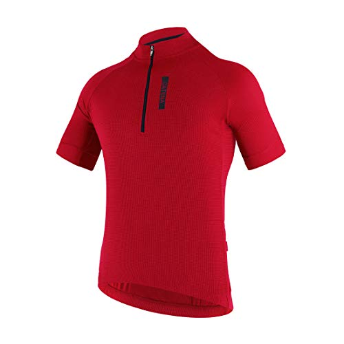 (CATENA Men's Cycling Jersey Short Sleeve Shirt Running Top Moisture Wicking Workout Sports T-Shirt Red, Large)