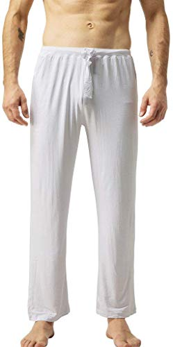 ZSHOW Men's Cotton Soft Casual Yoga Pants Long Leisure Pants(White,L)