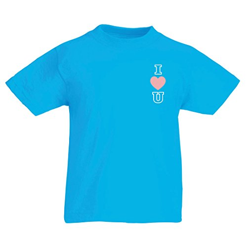 T Shirts for Kids I Love You! Awesome Gift Ideas - Valentines Day, Birthday, Anniversary (7-8 Years Light Blue Multi Color) ()