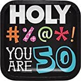 Club Pack of 96 Holy Beep! You Are 50 Square Luncheon Paper Party Plates 7''