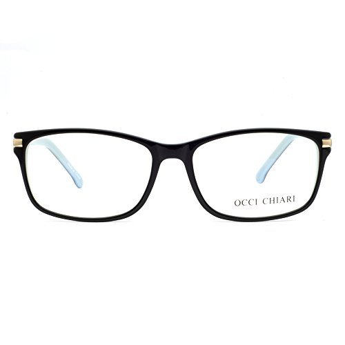 OCCI CHIARI Unisex Rectangle Vintage Eyewear Frame With Clear Lenses(Black/Blue, 55) (Prescription Eyewear)