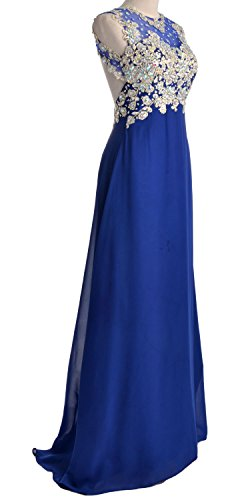 Lace Gown Formal MACloth Evening Prom O Royal Gold Blue Party Dress Neck Women Chiffon Long 7Ag7I
