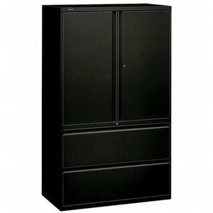 HON 895LSP 800 Series 42-Inch Storage Cabinet with 2-Drawer Lateral File, Black