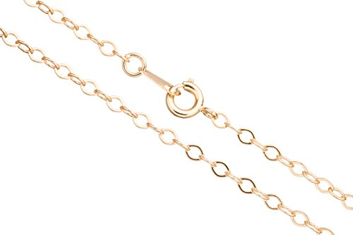 Flat Oval Cable Chain Necklace With Springring Clasp 24Inch 14K Gold Finished Brass 3mm Chain Width sold per 1pcs ()