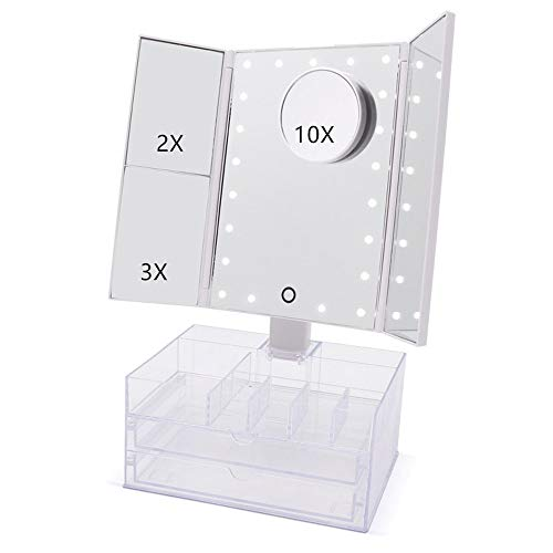 Bellapelle Tri-Fold LED Cosmetic Mirror with Bonus Makeup Organizer Great Fun for Women and Girls of All Ages