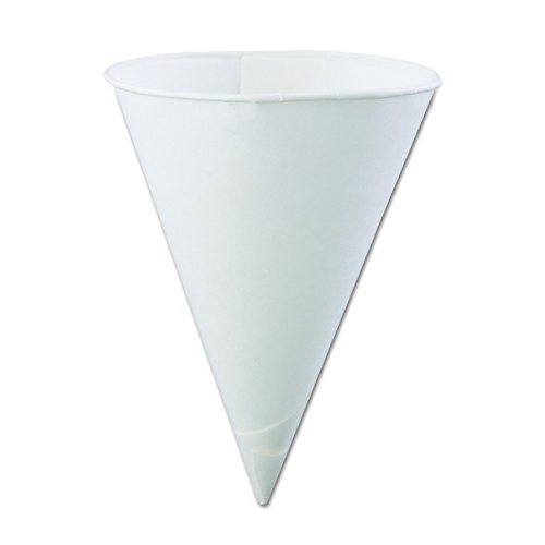 Konie KCI 6.0KBR Rolled-Rim Cone Cup, 6 oz. Volume, Paper, White (Pack of 5000)