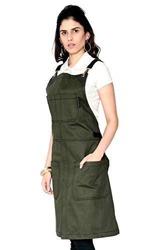 Cross-Back Moss Green Apron - Durable Twill with Leather Reinforcement and Split-Leg - Adjustable for Men and Women - Pro Chef, Tattoo, Baker, Barista, Bartender, Stylist, Server Aprons