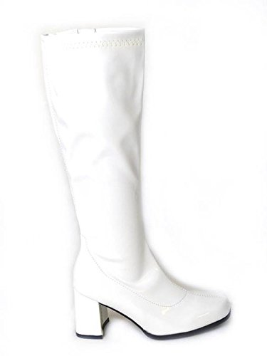 NEW LADIES WOMENS FANCY DRESS PARTY GO GO BOOTS 1960s & 1970s RETRO 3-9 White hK5ExqNb