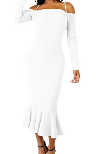 Length Off Sexy Dress Shoulder Womens Comfy Solid White Mid Ruffled Bodycon qXE8Ww7