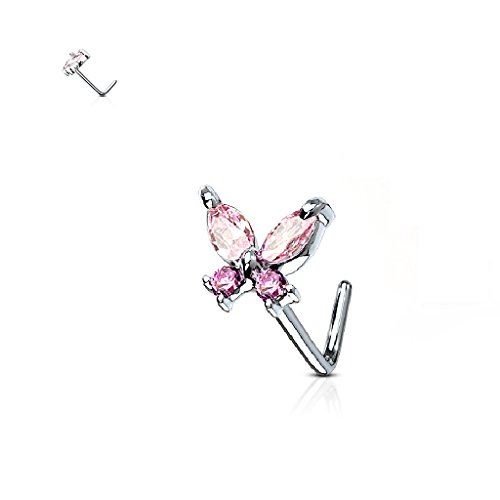 CZ Cross Butterfly 316L Surgical Steel L Bend Nose Stud Rings (B PINK) (Stud Cross Nose)
