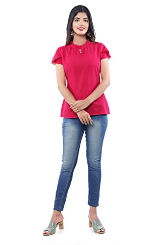 MK3A Casual Short Sleeve Solid Women Pink Top