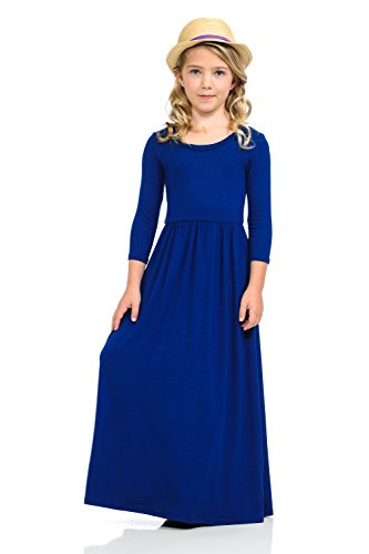 Pastel by Vivienne Honey Vanilla Girls' Fit and Flare Maxi Dress with Easy Removable Label Large / 9-10 Years Royal -