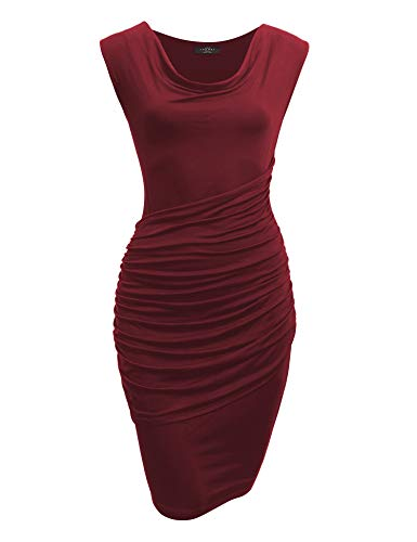 Made By Johnny MBJ WDR1186 Cowl Neck Sleeveless Pleats Detail Dress XL Wine