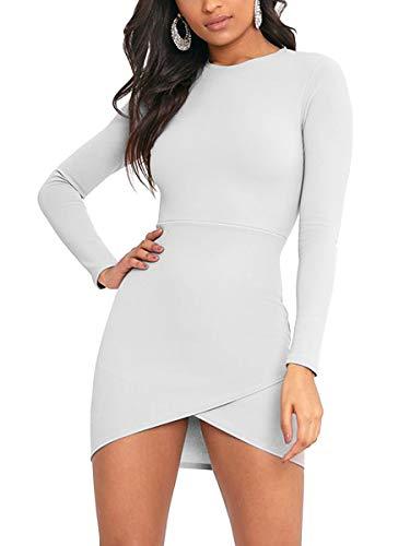 MISFONDLE Wrap Sleeve White Dress Mini Wrap Bodycon Women's Bottom Club Sexy Long vxT4Hvwrq