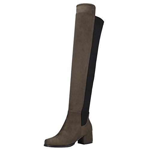 Mee Shoes Damen chunky heels langschaft zweifarbig Stiefel Dunkelgrün