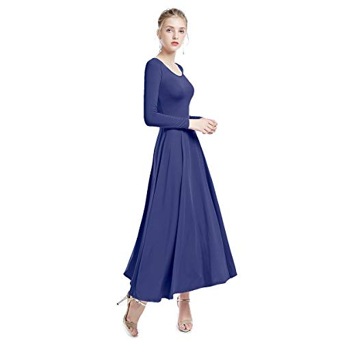 (IWEMEK Womens Liturgical Praise Loose Fit Full Length Long Sleeve Dance Dress Leotard Praisewear Dancewear Costume Navy Blue XX-Large)