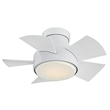 Modern Forms FH-W1802-26L-MW Vox 26 Inch Five Blade Indoor Outdoor Smart Fan with Six Speed DC Motor and LED Light in Matte White Finish Works with Nest, Ecobee, Google Home and IOS Android App,