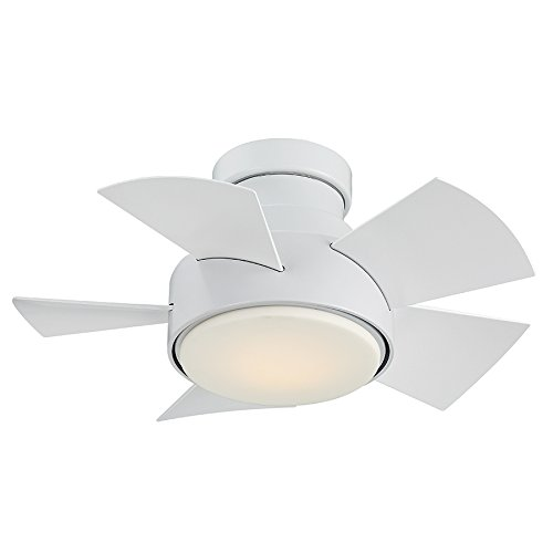 Modern Forms FH-W1802-26L-MW Vox 26 Inch Five Blade Indoor/Outdoor Smart Fan with Six Speed DC Motor and LED Light in Matte White Finish Works with Nest, Ecobee, Google Home and IOS/Android App,