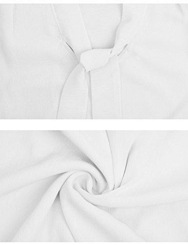 Abollria Women's Short Sleeve Chiffon Solid Casual Blouse Shirt Tops Weiß
