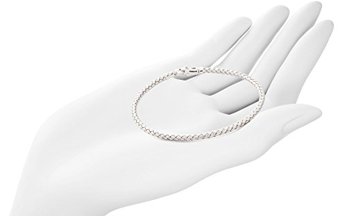 "14K White Gold 3mm Bracelet in Braided Wheat Chain Design | Luxurious Weave Rope Chain Style| 7"" Length by Trusted Jewelers (Image #3)"
