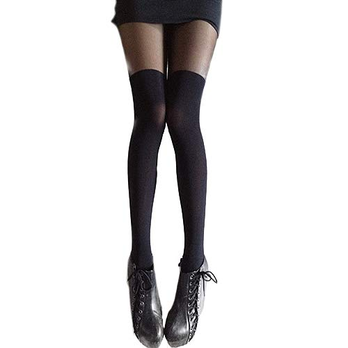 Shuohu New Splicing Stockings Hot Sale Black Mixed Colors Gipsy Mock Ribbed Over the Knee Tights Thigh High Pantyhose ()
