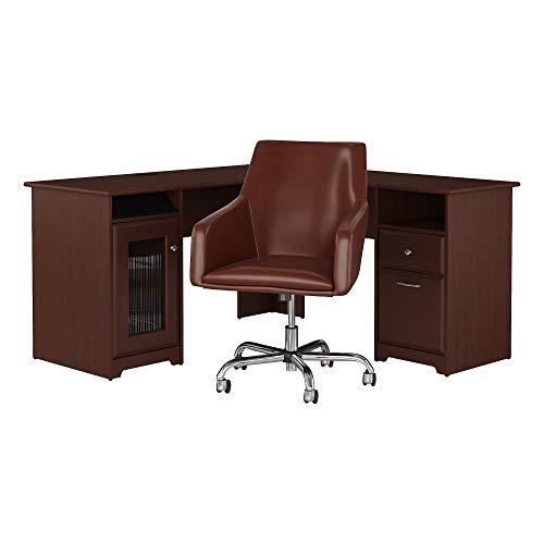 - Bush Furniture Cabot 60W L Shaped Desk with Mid Back Leather Box Chair in Harvest Cherry
