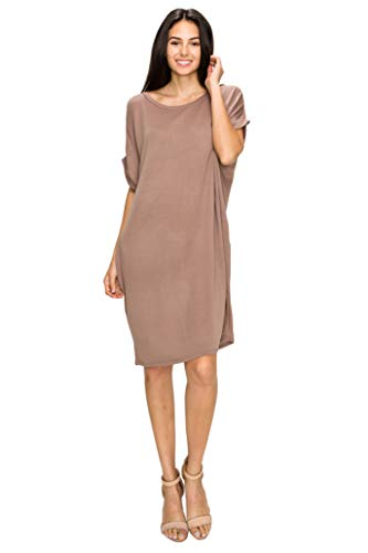 Made By Johnny MBJ WDR1911 Womens Scoop Neck Short Sleeve Dolman Tunic Dress S Mocha (Mocha Lays)