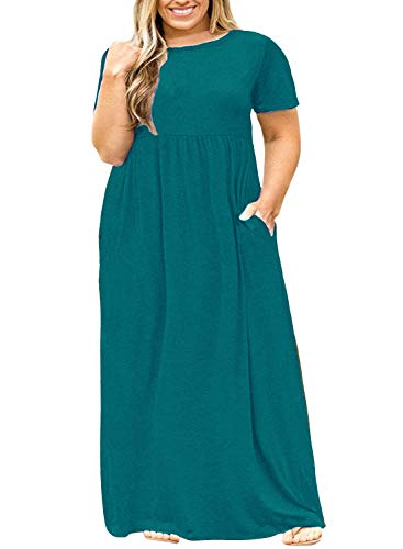POSESHE Women Short Sleeve Loose Plain Casual Plus Size Long Maxi Dress with Pockets 2 Acid Blue 3X