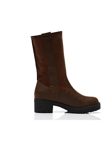 Zapatos Anfibias Sintético Xzz Mujer Brown Cn36 Cn41 Casual Exterior Uk4 Botas Eu36 Brown Moto Uk7 us6 Cuero us9 De Robusto Marrón Eu40 Tacón dqqrPY