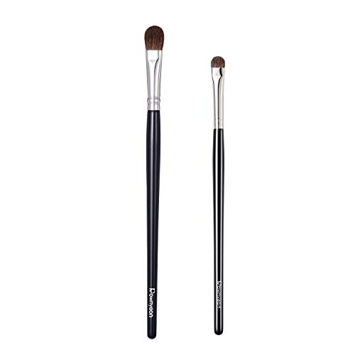 Makeup Eyeshadow Set 2, Pro All Over Eye Shader Brush Large and Small, with Dense Rounded Pony Hair Bristles. Essential Eye Shadow Brushes for Entire Eye Lid and Lower Lash Line. #E02#YH04 Pony Hair