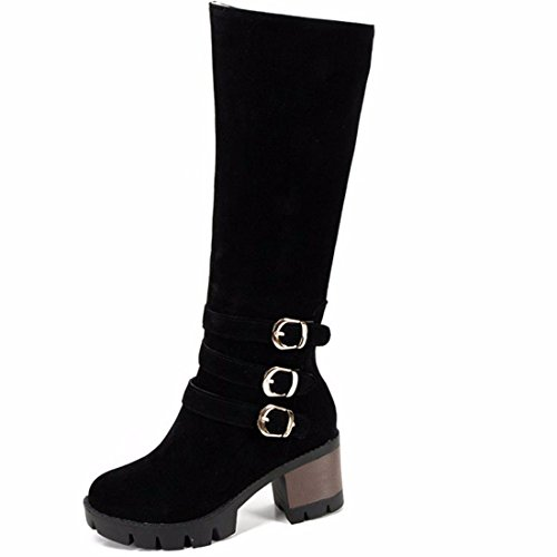 botas alto mate botas grande de Biker tacón cilindro Terry y alta botas hebilla el Tamaño de Black 4qBYwB7