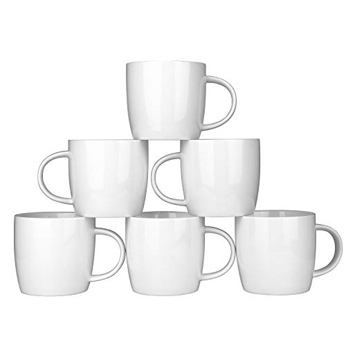 (Alt-GT Porcelain Mugs for Coffee, Tea, Cocoa, Latte,Ceramic Mulled Drinks Restaurant Mug Set,12 Ounce,Set of 6)