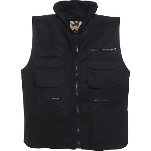 Humvee Cotton Ranger Vest with Hideaway Hood, Black, XX-Large