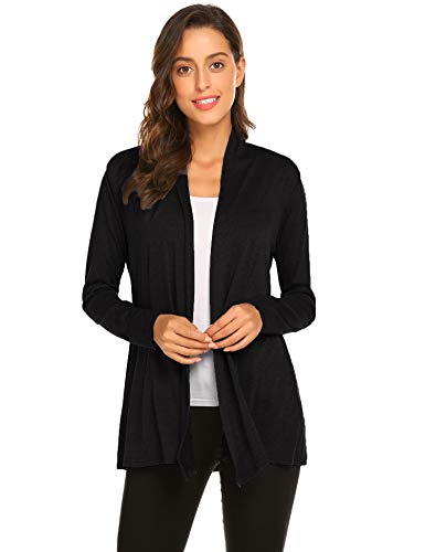 Newchoice Women's Soft Drape Lightweight Long Sleeve Cardigan Sweaters Loose Casual Fall Dusters (Black, L) ()