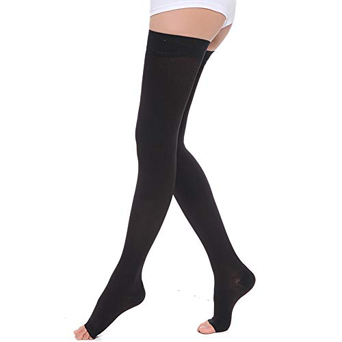 SKYFOXE Thigh High Compression Stockings Women Men-Open Toe Firm Support 15-20 mmHg Graduated Compression Socks-Moderate Toeless Medical Support Hose for Swelling Varicose Veins Edema