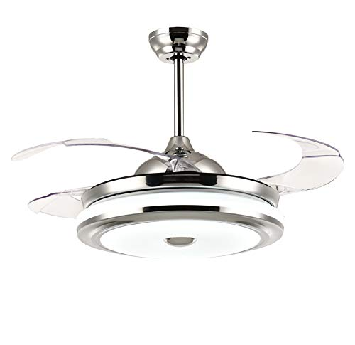 "Moooni 42"" Modern Dimmable Fandelier Retractable Ceiling Fans with Lights and Remote Invisible Chandelier Fan Light Kit- Polished Chrome"