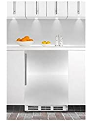 Summit AL750BISSHV 24 All-Refrigerator with 5.5 Cu. Ft. Capacity Automatic Defrost Adjustable Glass Shelves Adjustable Thermostat and Vertical Stainless Steel Handle in Stainless