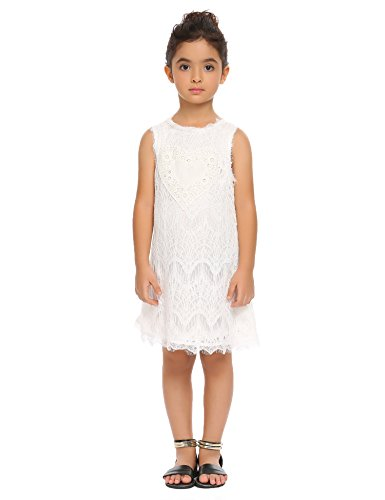 - Arshiner Girls Sleeveless Vintage Lace Dress Wedding or Party Dress 4-10 ,White,140