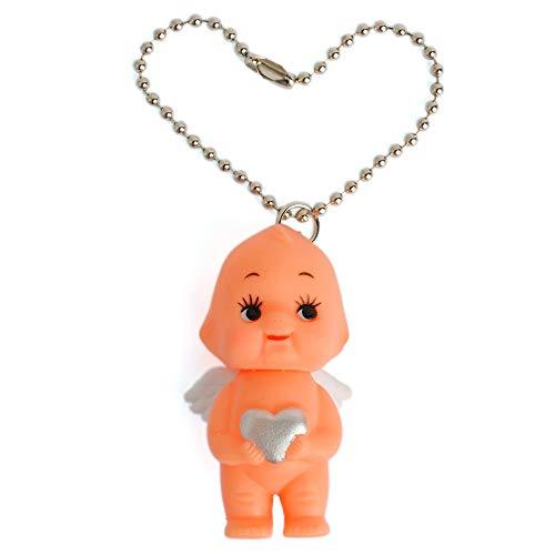 (Obitsu Kewpie Vintage Rubber Baby Doll Angel Wings Heart Pendant Keychain Handbag Charm 2 inch (Silver))