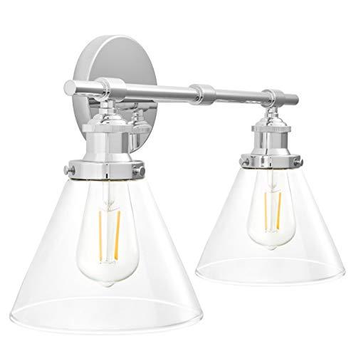 Tenesa 2 Light Hallway Wall Sconce | Chrome Bathroom Vanity Light with LED Bulb -WL632-2PC ()