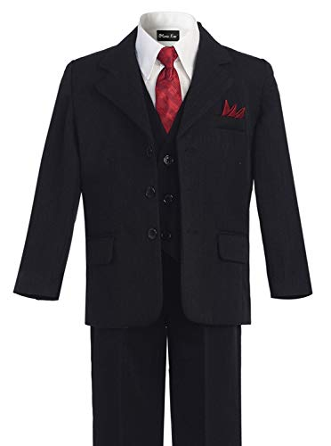 OLIVIA KOO Boys Pinstripe 6-Piece Suit With Matching Neck Tie and Pocket Square,Black,16 - Lined Pinstripe Pant Suit